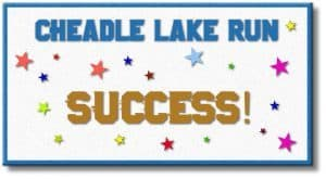 Drawing with words Cheadle Lake Run Success surrounded by stars