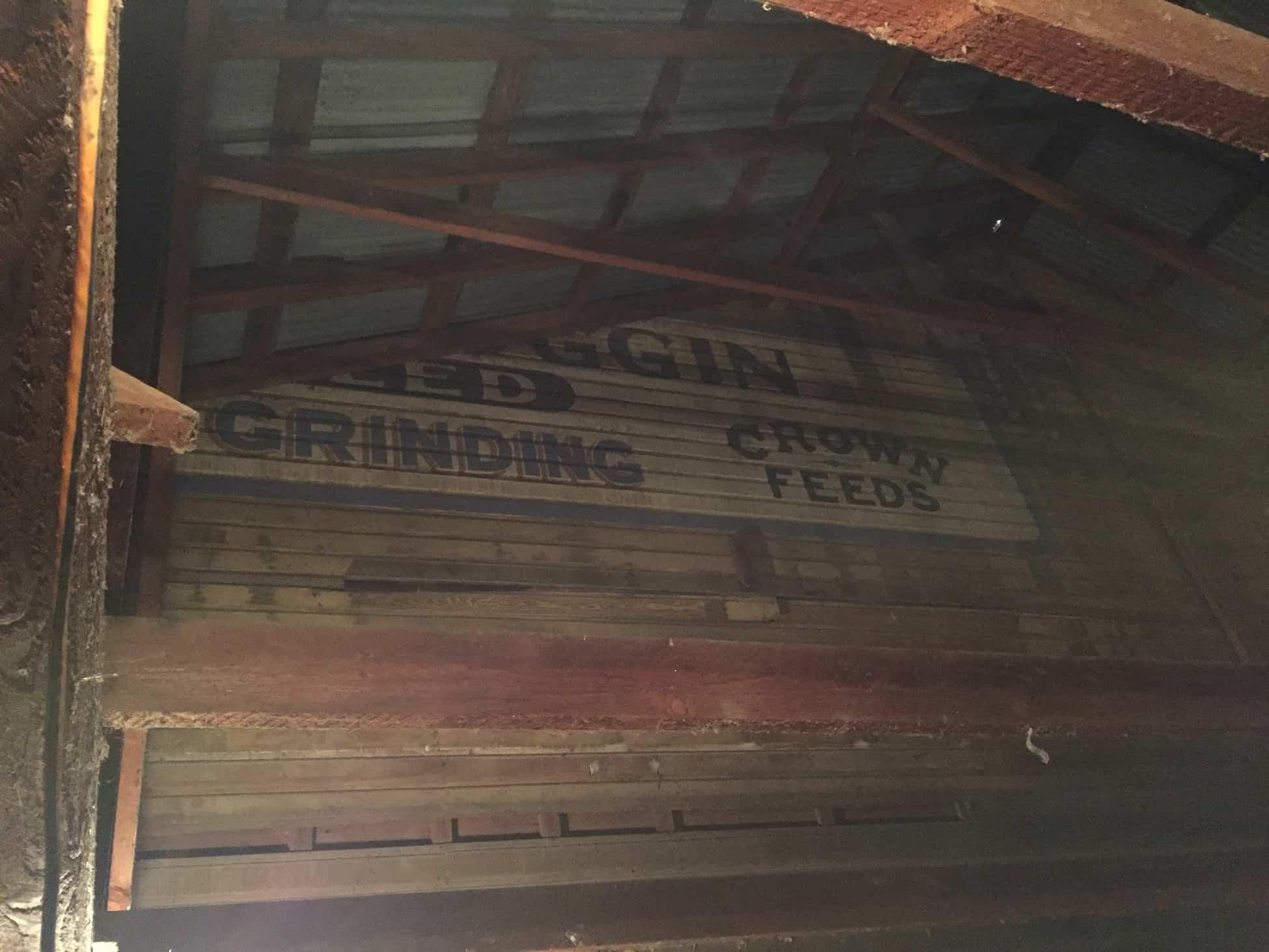 Sign inside Scroggins Mill.