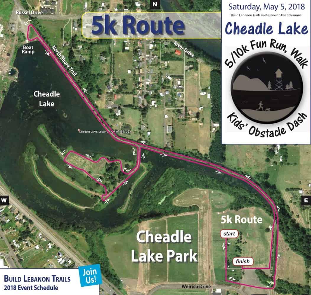 2018 Cheadle Lake Run 5k route